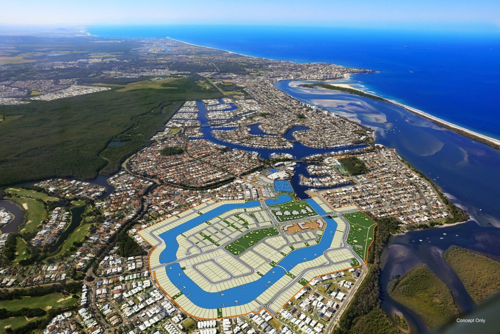 Pelican Waters Land From the air